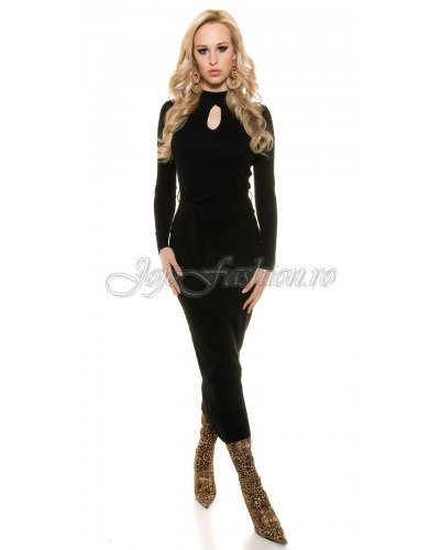 Rochie de zi mulata tricotata neagra lunga Korey