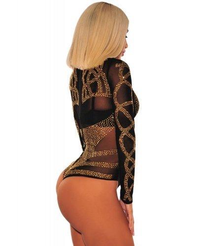 Body negru cu maneci lungi si strasuri aurii Pretty