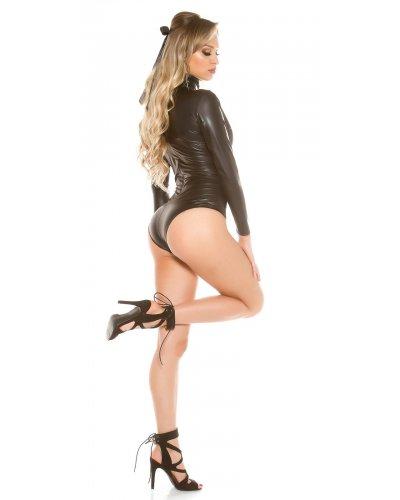Body dama negru cu maneci lungi WetLook Priya