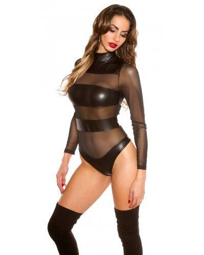Body negru cu benzi  transparente din tul si PU Mesh