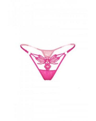 Chilot de dama roz tip snur din broderie florala accesorizat cu fluturi Donna