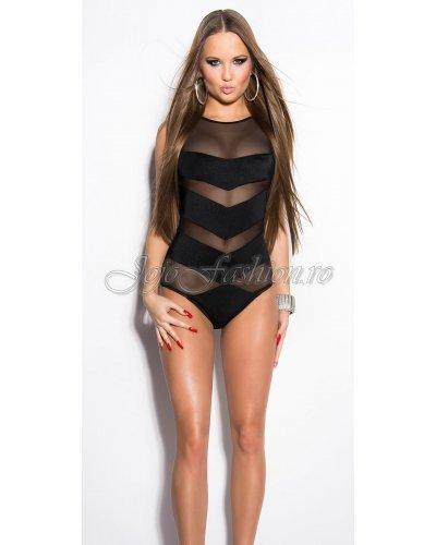 Body negru cu benzi transparente Loriana