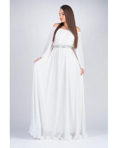 Rochie de ocazie din voal alb lunga Cinderella