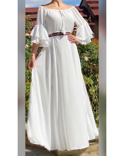 Rochie de ocazie eleganta din voal alb cu volane Sheila