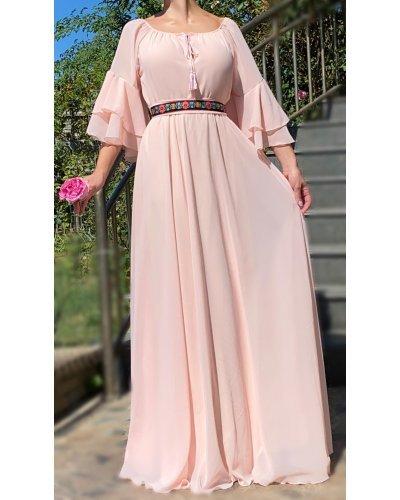 Rochie de ocazie eleganta din voal roz cu volane Sheila