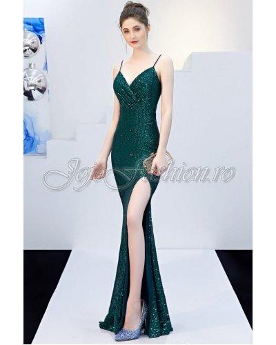 Rochie de seara eleganta din paiete verzi Bailley