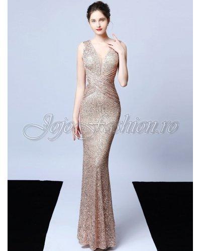 Rochie de seara eleganta lunga din paiete aurii Amelie