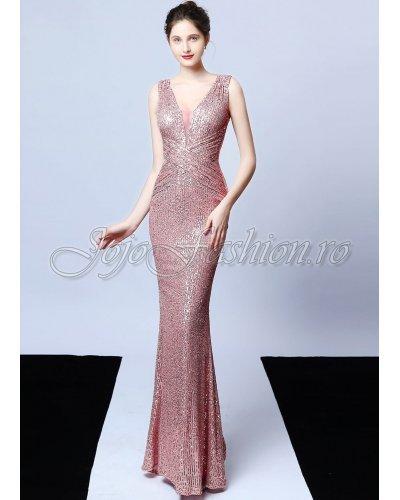 Rochie de seara eleganta lunga din paiete roz Amelie