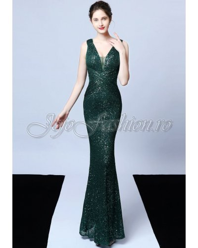 Rochie de seara eleganta lunga din paiete verzi Amelie