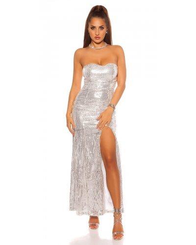 Rochie de seara lunga argintie paiete Rodia