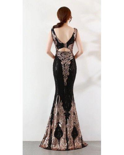 Rochie de seara lunga cu paiete negre si aurii Princess