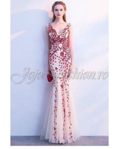Rochie de seara lunga cu paiete rosii si tul Alexandra
