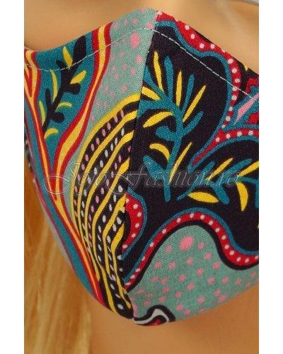 Masca fashion reutilizabila din bumbac bleu cu print multicolor 3 straturi Kriss