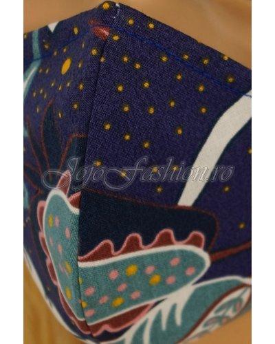 Masca fashion reutilizabila din bumbac bleumarin multicolor 3 straturi Kriss