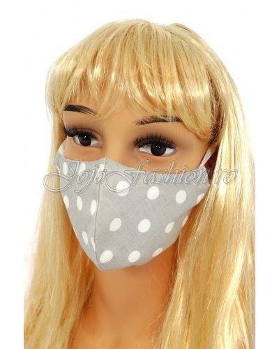 Masca fashion reutilizabila din bumbac gri cu buline 3 straturi Kriss