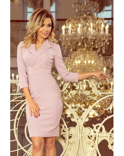 Rochie de zi office scurta lila cu revere pe decolteu Iselin