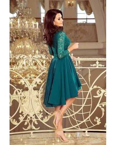 Rochie eleganta asimetrica verde turcoaz inchis Anastasia