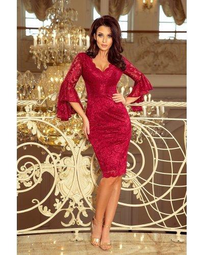 Rochie eleganta midi din dantela burgundy Alida
