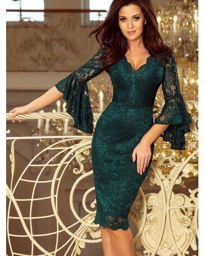 Rochie eleganta midi din dantela verde Alida