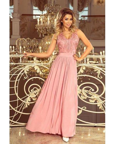 Rochie eleganta roz lunga vaporoasa cu broderie pe bust Feodora