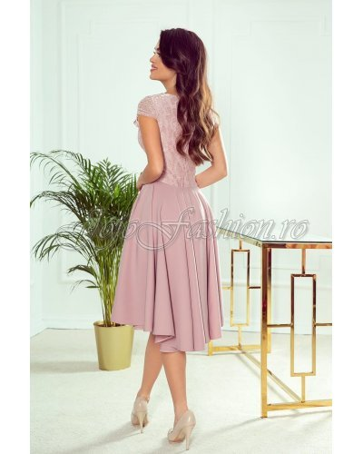 Rochie de ocazie asimetrica midi cu dantela roz pudrat Ivy