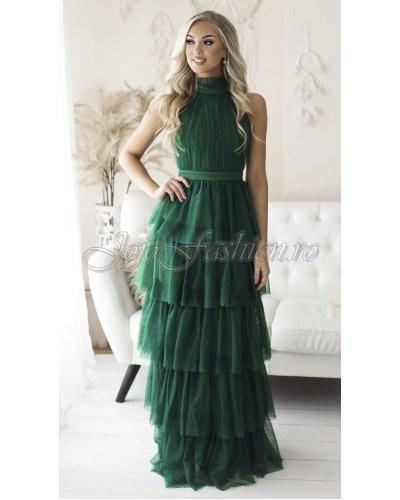 Rochie de ocazie lunga cu volane din tul verde EVA & LOLA Splendor