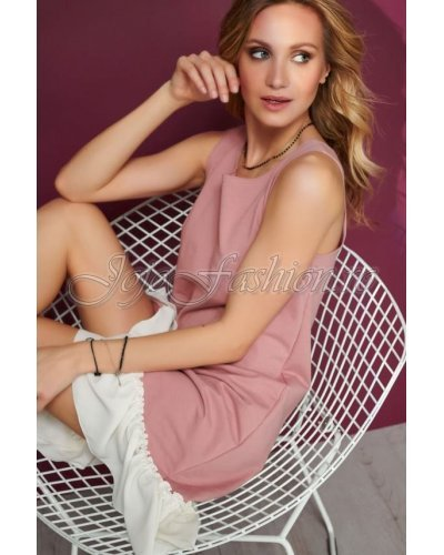 Rochie de zi midi evazata roz cu volan alb Monalisa