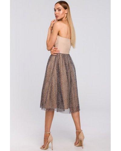 Rochie de ocazie cu corset roz si fusta vaporoasa leopard print Martina