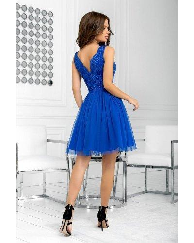 Rochie de ocazie albastra cu tul si broderie Ecaterina