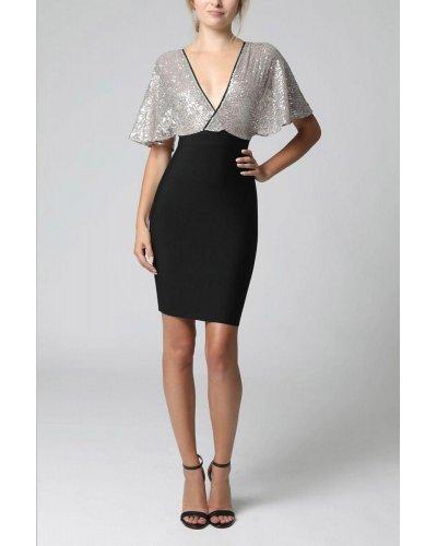 Rochie de ocazie eleganta cu bust din paiete argintii Yna