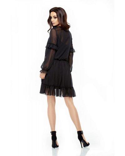 Rochie de ocazie eleganta neagra cu maneci lungi din voal Stella