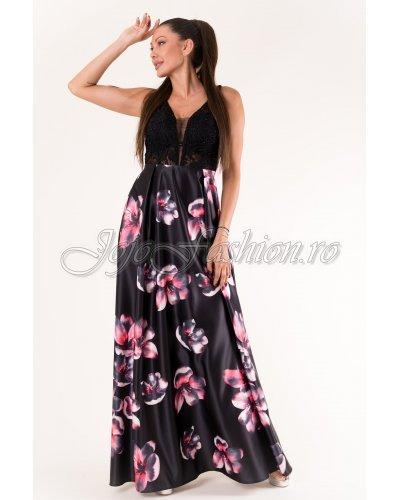 Rochie de ocazie lunga tafta cu flori roz si broderie neagra Alyssa
