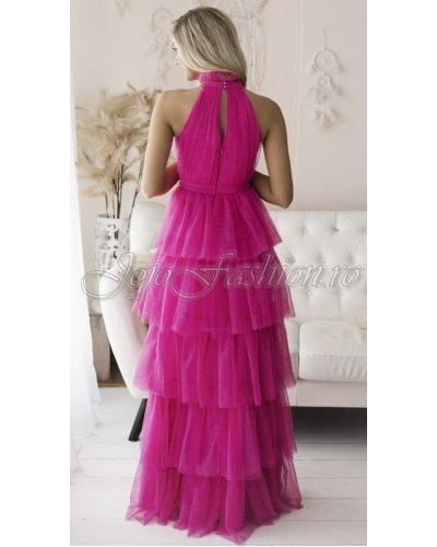 Rochie de ocazie lunga cu volane din tul roz fucsia EVA & LOLA Splendor
