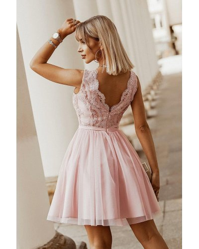 Rochie de ocazie roz cu tul si broderie Ecaterina