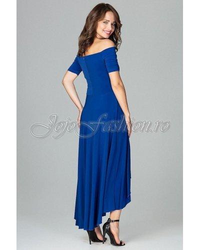 Rochie de seara asimetrica albastra cu trena Jolie