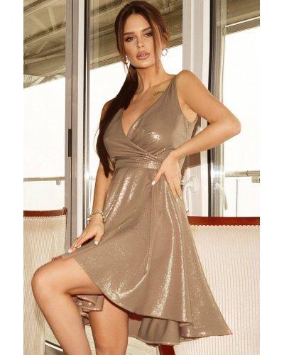 Rochie de seara asimetrica brocard bej glitter Marya