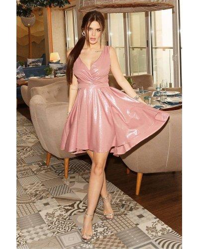 Rochie de seara asimetrica brocard roz scurta Marya