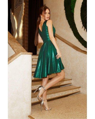 Rochie de seara asimetrica scurta brocard verde glitter Marya