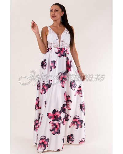 Rochie de ocazie lunga tafta cu flori multicolore si broderie alba Alyssa