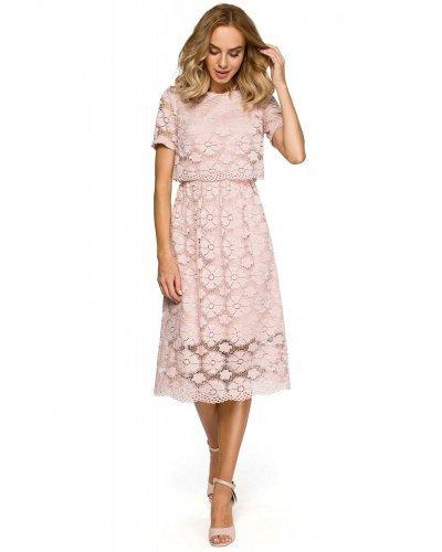 Rochie de seara midi din dantela inflorata roz Macys