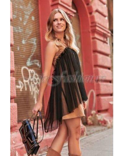 Rochie de zi din bumbac cappucino si tul negru Eniko
