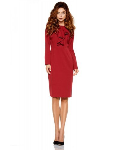 Rochie de zi eleganta burgundy cu maneci lungi Hannah