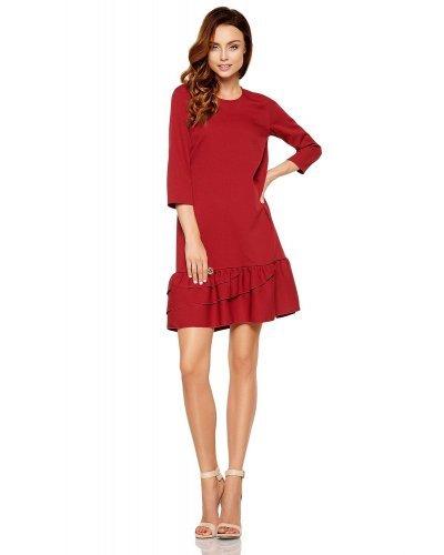 Rochie de zi eleganta burgundy cu volane Madison