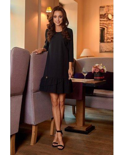 Rochie de zi eleganta neagra cu volane Madison