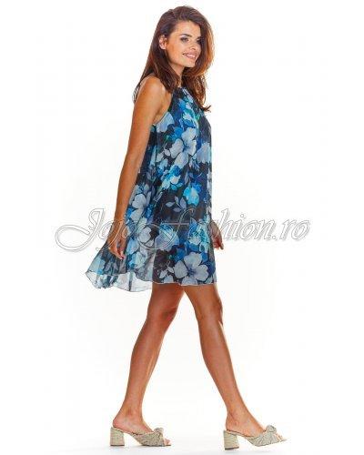 Rochie de zi scurta croi in A bleumarin cu flori bleu Violeta