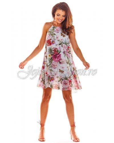 Rochie de zi scurta croi in A multicolora Violeta