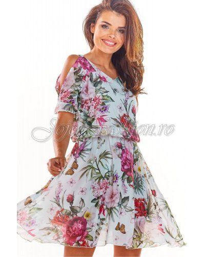 Rochie de zi scurta vaporoasa cu flori multicolore Awama
