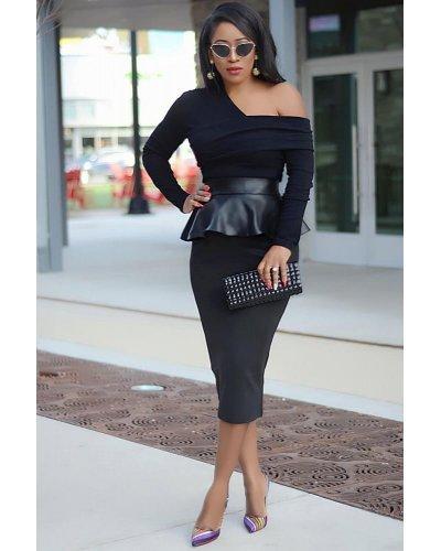 Rochie de ocazie neagra midi cu peplum din latex Calista