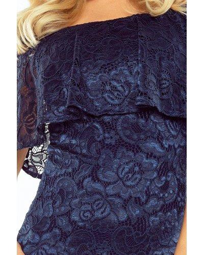 Rochie de seara bleumarin din dantela Yvonne