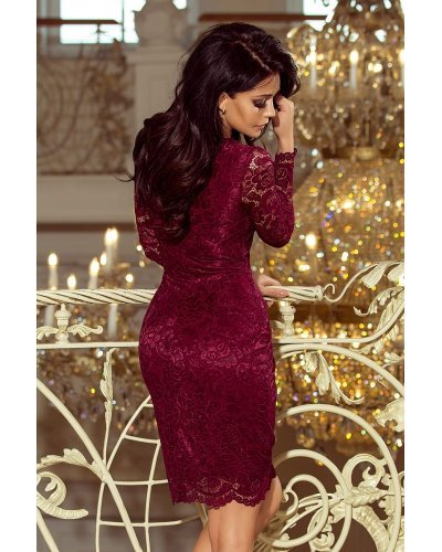Rochie de seara burgundy din dantela Sofia